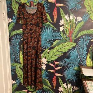 Black Orange Rose Lularoe Ana Maxi Dress